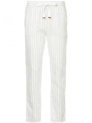 Полосатые брюки узкого кроя Lounge Venroy. Цвет: белый