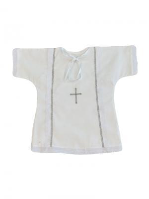 Рубашка крестильная с лентой Дашенька. Цвет: белый, серебристый