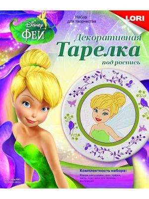Тарелка из гипса Disney Фея Динь LORI. Цвет: желтый, зеленый, фиолетовый