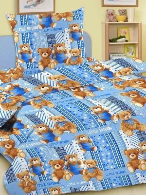 Комплект в кроватку Ясли BGR-07, простыня на резинке, бязь Letto. Цвет: голубой