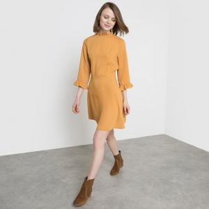 Платье с гофрированным эффектом MADEMOISELLE R. Цвет: охра,темно-синий