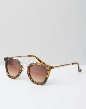 Jeepers Peepers Солнцезащитные очки с переносицей в черепаховой оправе. Цвет: коричневый