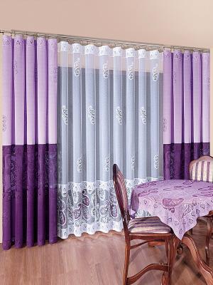 Комплект штор Wisan. Цвет: лиловый, белый