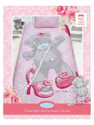Комплект постельного белья Taddy модный Me to you. Цвет: розовый, серый