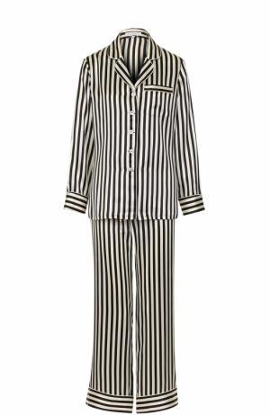 Шелковая пижама в контрастную полоску Olivia Von Halle. Цвет: черно-белый