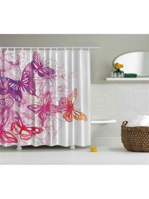 Фотоштора для ванной Волшебные бабочки, 180*200 см Magic Lady. Цвет: фиолетовый, белый, красный, розовый