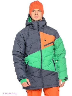Куртка STAGE 15 DC Shoes. Цвет: темно-синий, зеленый, оранжевый