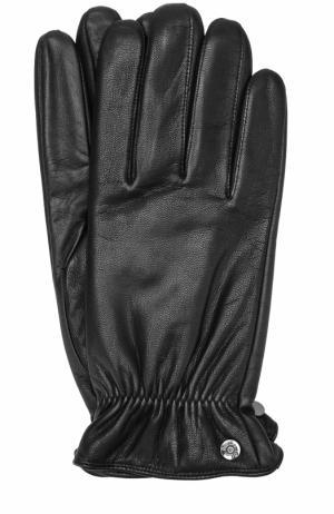 Кожаные перчатки с манжетами на резинке Roeckl. Цвет: черный