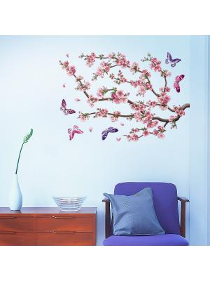 Виниловые наклейки Сакура  12 шт. DECORETTO. Цвет: голубой, фиолетовый, розовый, коричневый