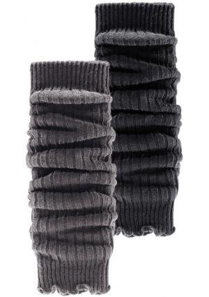 Гетры или митенки, 2 пары. Цвет: 2х экрю, лиловый+черный, темно-синий+красный, черный+бежевый, черный+серый меланжевый