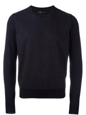 Трикотажный свитер в тонкую полоску Corneliani. Цвет: синий