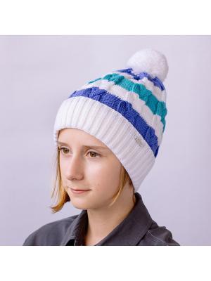 Шапка COOMPOL. Цвет: светло-голубой, белый, сиреневый
