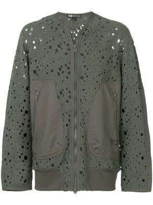 Перфорированная куртка-бомбер Y-3. Цвет: зелёный