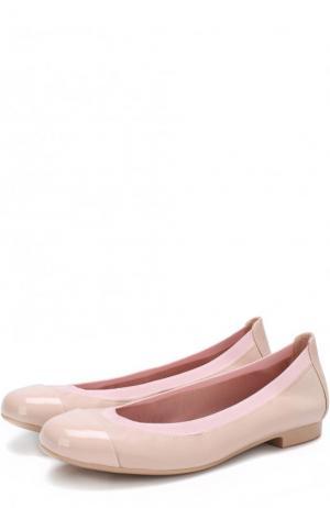 Кожаные балетки с лаковым мысом Pretty Ballerinas. Цвет: розовый
