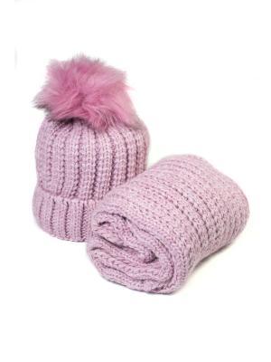 Комплект шапка и снуд Mitya Veselkov. Цвет: розовый