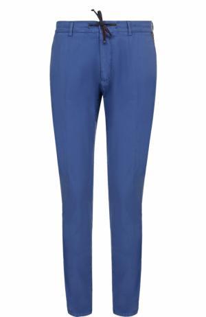 Хлопковые брюки прямого кроя Berwich. Цвет: синий