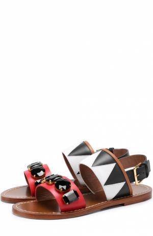 Кожаные сандалии с кристаллами Marni. Цвет: коричневый