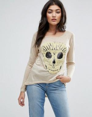 Jasmine Футболка с вышитым черепом. Цвет: кремовый