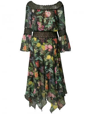 Платье с цветочным узором Tadashi Shoji. Цвет: чёрный