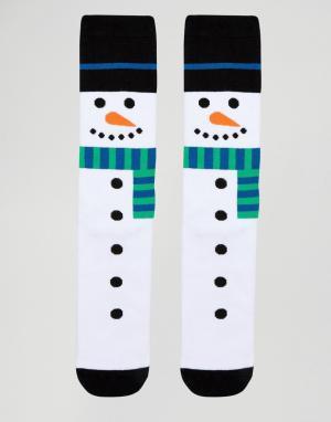 Urban Eccentric Носки-слиперы в рождественском стиле. Цвет: белый