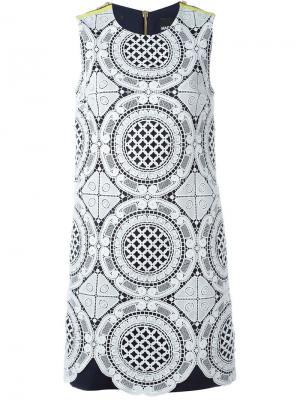Кружевное платье Marco Bologna. Цвет: синий