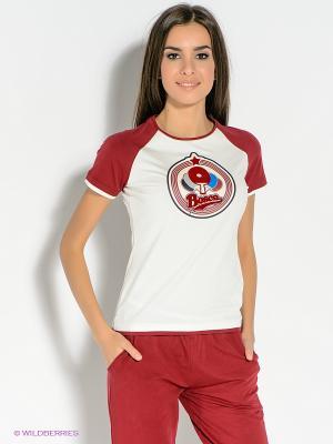 Футболка BOSCO. Цвет: молочный, бордовый