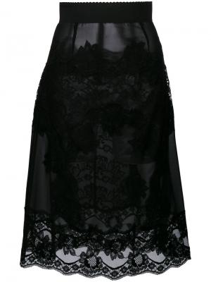 Юбка с кружевной вставкой Dolce & Gabbana. Цвет: чёрный