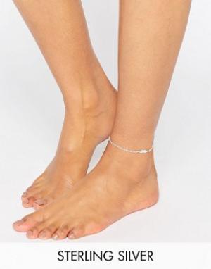Kingsley Ryan Серебряный браслет на ногу с пером. Цвет: серебряный