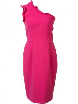 Приталенное платье на одно плечо Black Halo. Цвет: розовый и фиолетовый