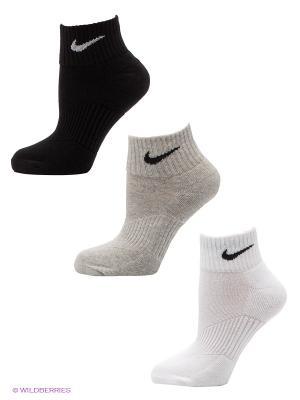 Носки 3P YTH CTN CUSH QTR W/ MOIST MGT Nike. Цвет: черный, серый, белый