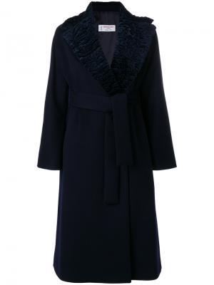 Пальто с запахом и поясом Alberto Biani. Цвет: чёрный