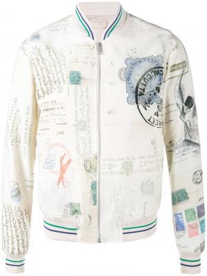 Куртка-бомбер с принтом Letters from India Alexander McQueen. Цвет: белый