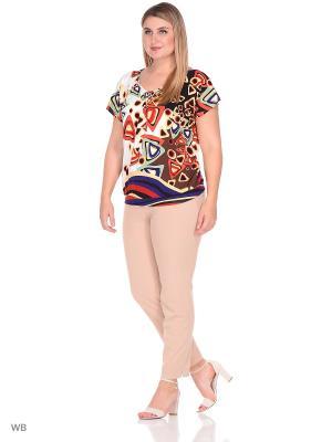 Блузка ФЭСТ. Цвет: белый, коричневый, фиолетовый