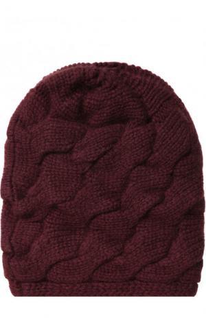 Кашемировая шапка фактурной вязки с помпоном из меха песца TSUM Collection. Цвет: бордовый