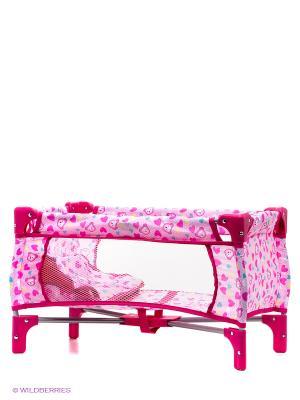 Кроватка-манеж для кукол с сумкой 1Toy. Цвет: розовый