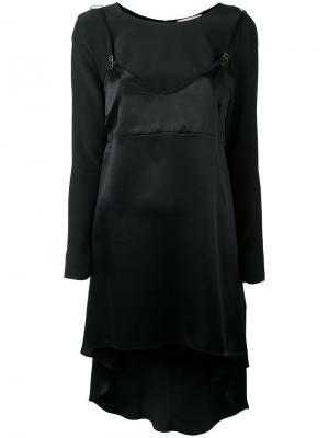 Длинная блузка-комбинация Murmur. Цвет: чёрный