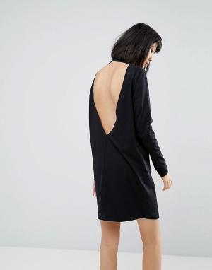 ASOS Платье-футболка с глубоким V-образным вырезом на спине и длинными рука. Цвет: черный