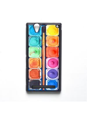 Чехол для Sony Xperia T2 Ultra Акварель с кисточкой Boom Case. Цвет: антрацитовый