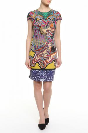 Платье CLASS ROBERTO CAVALLI. Цвет: желтый, зеленый
