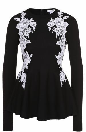 Пуловер с баской и контрастной кружевной отделкой Oscar de la Renta. Цвет: черно-белый