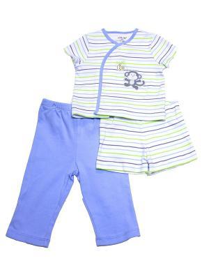 Комплект из 3-х предметов Обезьянка Little Me. Цвет: белый, зеленый, серый, голубой