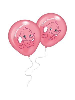 8 шариков СДР с рисунком Розовый слоненок Everts. Цвет: розовый
