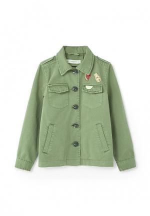 Куртка Mango Kids. Цвет: зеленый