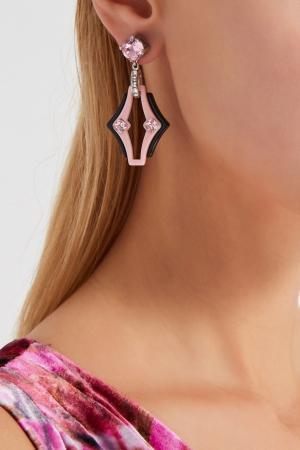 Серьги с кристаллами Prada. Цвет: розовый