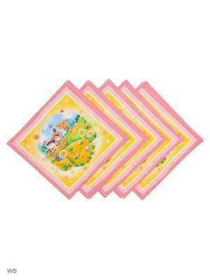 Набор платков носовых детских Римейн. Цвет: розовый, желтый
