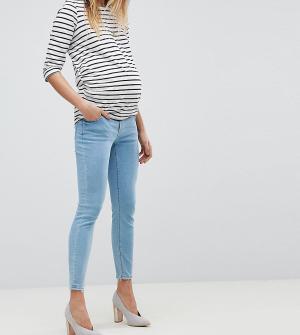 ASOS Maternity Песочные джинсы скинни с завышенной талией и посадкой под животом. Цвет: синий