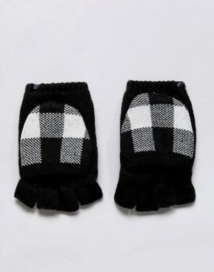 Plush Черно-белые варежки на флисовой подкладке с накладками для сенсорных г. Цвет: черный