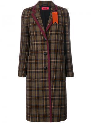 Клетчатое пальто на пуговицах The Gigi. Цвет: коричневый