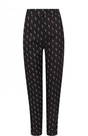 Укороченные шелковые брюки с принтом Victoria, Victoria Beckham. Цвет: черный
