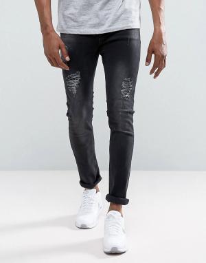 Just Junkies Черные выбеленные облегающие джинсы с рваной отделкой Sic. Цвет: черный